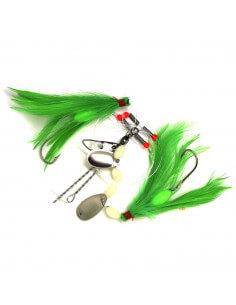 Luksus fladfiskeforfang Grønne fjer og spinnerblade