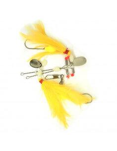 Luksus fladfiskeforfang Gule fjer og spinnerblade