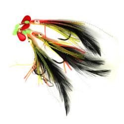 Torskeforfang Røde / Gule blælsprutter med fjer fra Billigt Fiskegrej