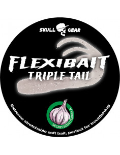 Flexibait Triple Tail - White fra Skull Gear